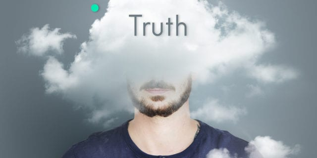 man with cloud on head and truth